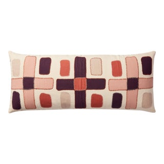 """Justina Blakeney X Loloi Abstract Shapes Appliqued Lumbar Pillow, Ivory / Multi - 13"""" x 35"""" Cover with Down Pillow For Sale"""