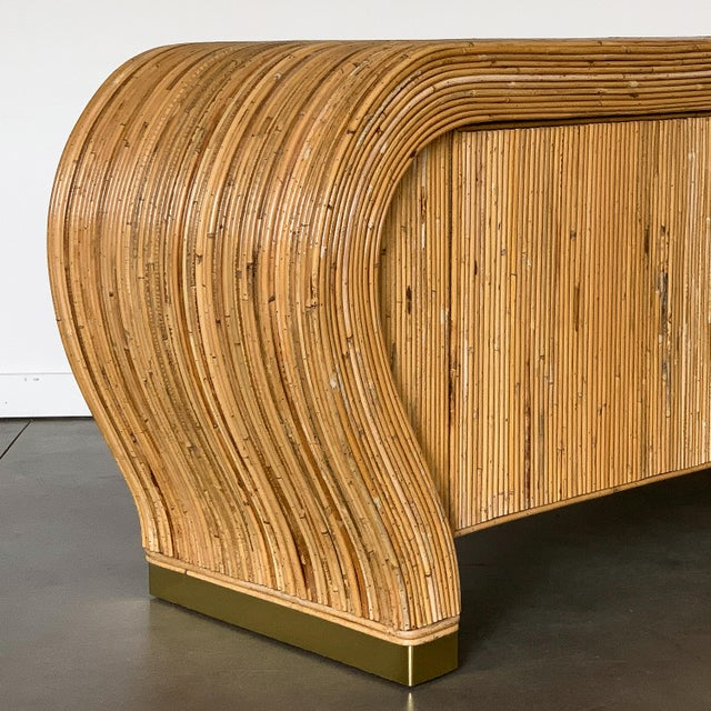 Gabriella Crespi Style Bamboo and Brass Waterfall Sideboard Cabinet For Sale - Image 9 of 13