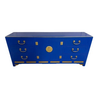 Royal Blue Nine Drawer Dresser For Sale