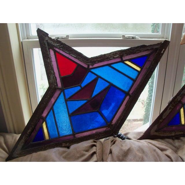Antique Leaded Art Glass Window Sconces - A Pair - Image 5 of 10