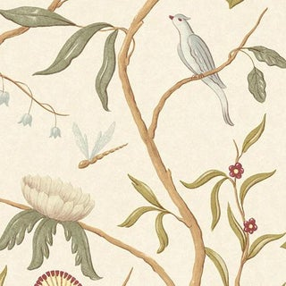 "Adam's Eden Ivory Extra Wide 51"" Botanic Style Wallpaper Sample For Sale"