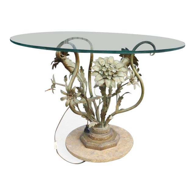 1960's Vintage Italian Hollywood Regency Tole Flowers Table For Sale