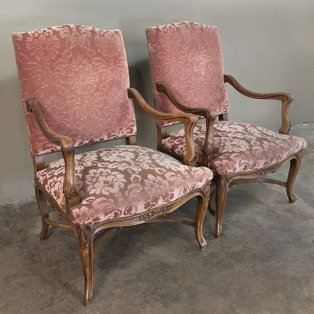 French Pair Armchairs, 19th Century French Louis XV in Walnut For Sale - Image 3 of 13