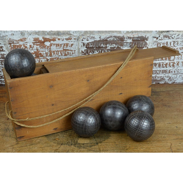 Antique French Iron Boules Set With Case For Sale - Image 13 of 13