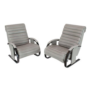 1990s Vintage Bent Wood Tank Style Leather Ribbed Upholstery Reclining Lounge Chairs- a Pair For Sale