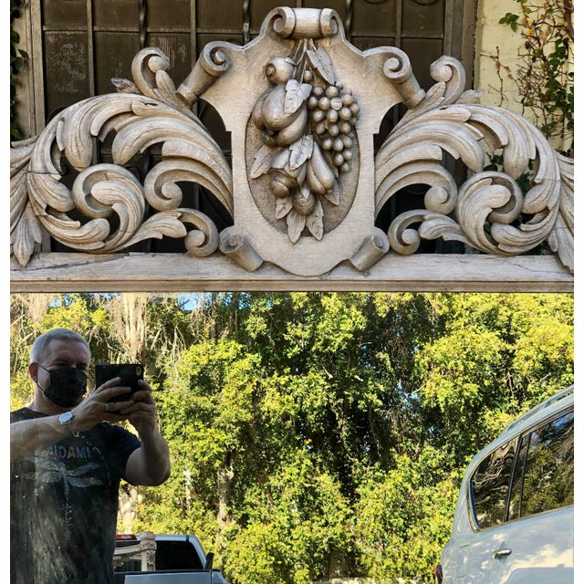 Baroque Huge Antique Early 19c Baroque Carved Bleached Oak Mirror For Sale - Image 3 of 5