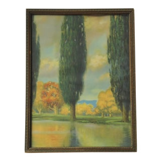1930s Vintage Cypress Trees Reflecting in Landscape Lithograph Print For Sale