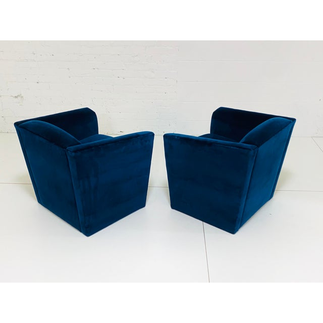 Textile Post Modern Angular Barrel Back Lounge Chairs - a Pair For Sale - Image 7 of 8