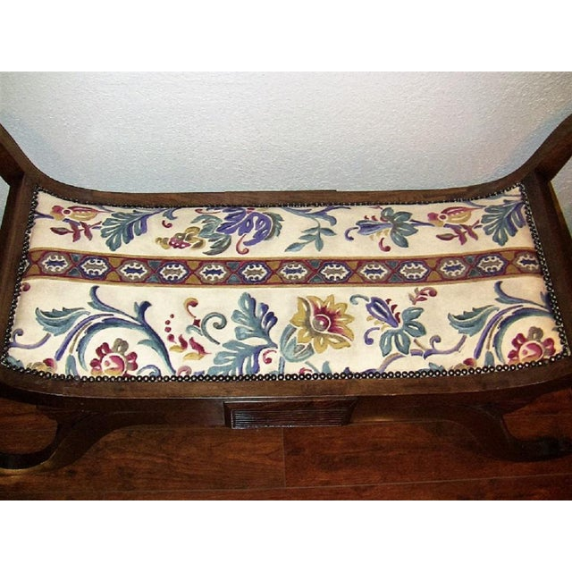 Empire Style Bedroom Scroll End Bench Seats- A Pair For Sale - Image 10 of 13