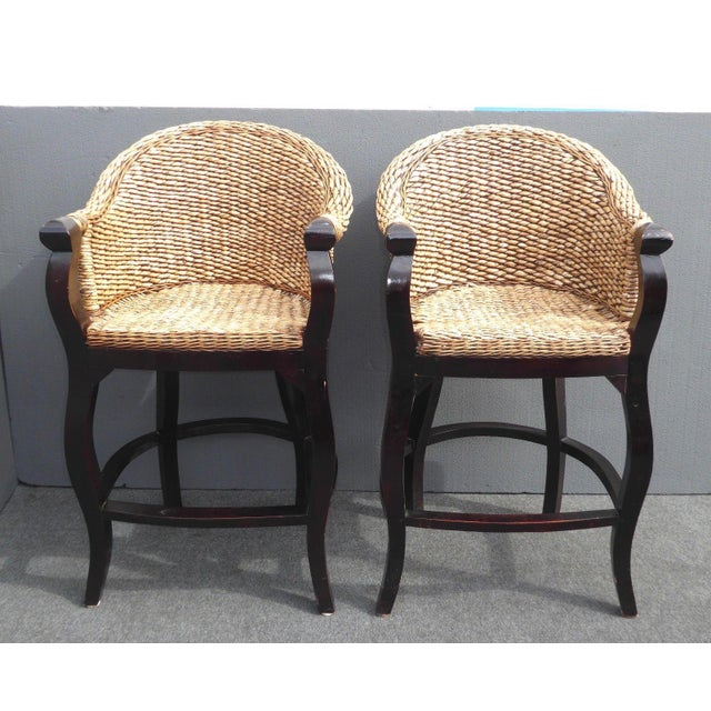 Tiki Palm Beach Style Woven Wicker Bar Stools - A Pair - Image 4 of 11
