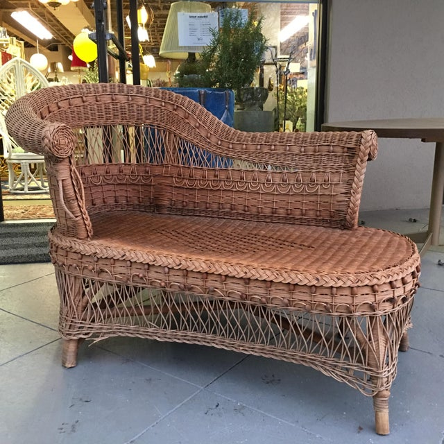 Vintage Boho Wicker Chaise Lounge - Image 2 of 4