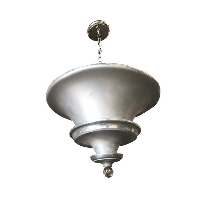 Art Deco Spun Aluminum Multilevel Acorn Ceiling Pendant Lamp For Sale