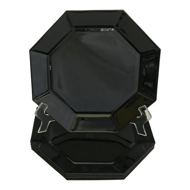 Vintage Arcoroc French Black Octagonal Plates - Set of 5 For Sale