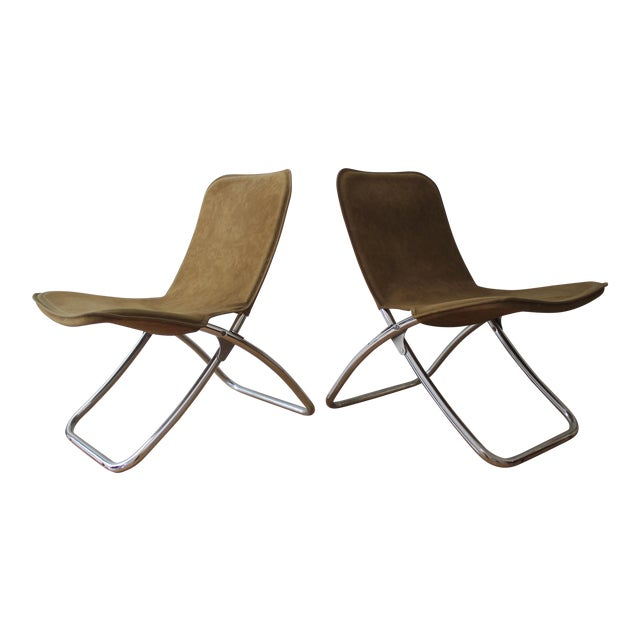 Folding Lounge Chairs - a Pair - Image 1 of 7