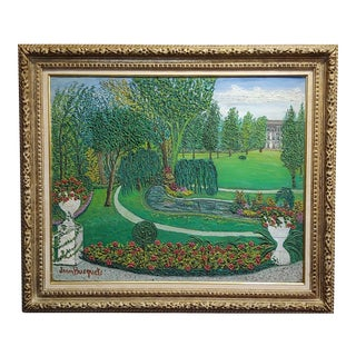 1940s Vintage Jean Busquets Garden Landscape Oil Painting For Sale