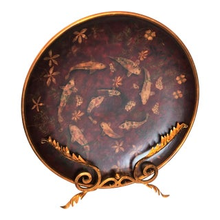 Decorative Koi Fish Plate With Gilded Stand For Sale