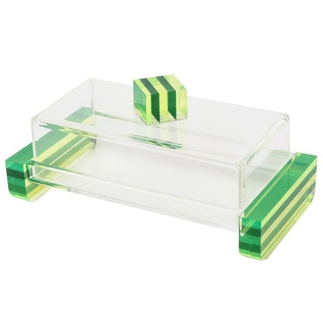 Charles Hollis Jones Style Colored Lucite Two Part Box For Sale - Image 9 of 9