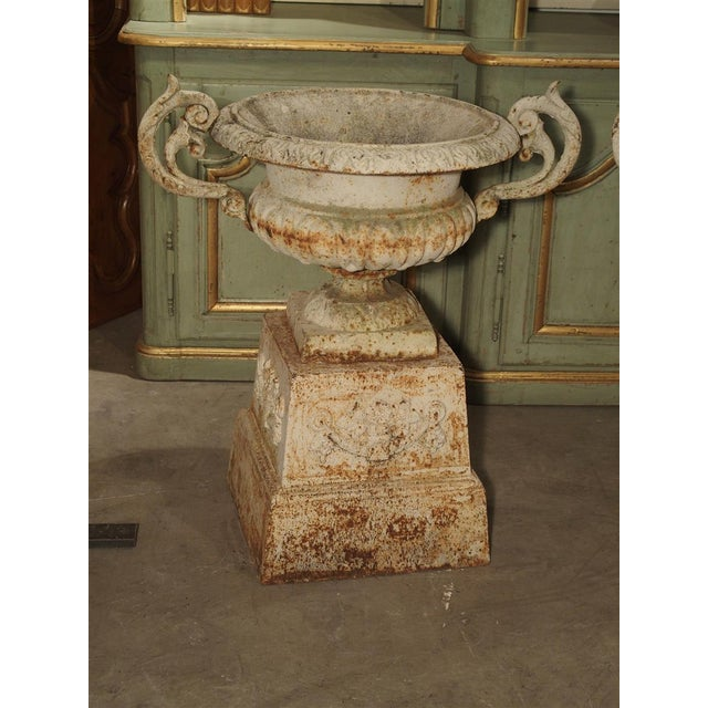 Pair of Antique Cast Iron Vases on Pedestals From Besancon France, Circa 1915 For Sale - Image 9 of 13