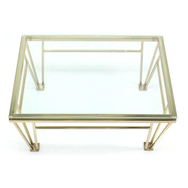 Geometric Frame Rectangular Brass Side Table w/ Glass Top For Sale - Image 4 of 6