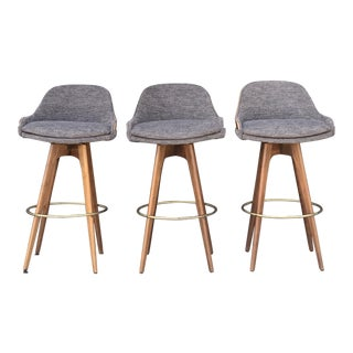 Set of Three Mid Century Bar Stools For Sale