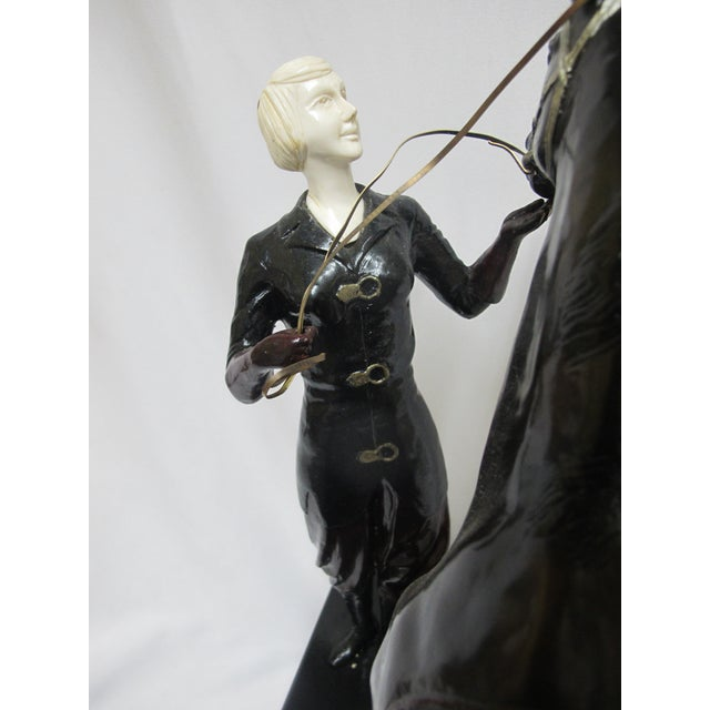 """1920s Signed Ferdinand Preiss Art Deco Bronze """"Woman & Horse"""" Statue For Sale - Image 5 of 8"""