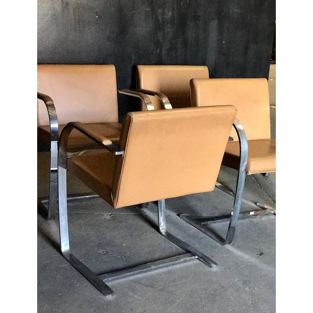 """1960s Mies Van Der Rohe for Knoll Studio """"Brno Flat Bar"""" Lounge Armchair in Leather For Sale - Image 5 of 6"""