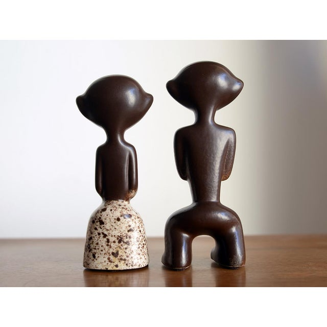 1950s Mid Century Howard Pierce Ceramic Tribal Couple Figurines - a Pair For Sale - Image 4 of 7