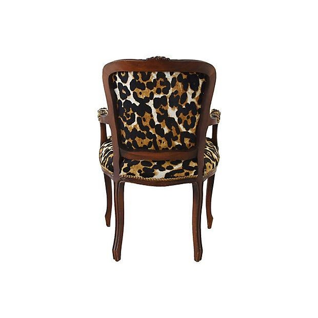 Carved Armchair W/ Cowhide Animal Spots For Sale In Los Angeles - Image 6 of 12