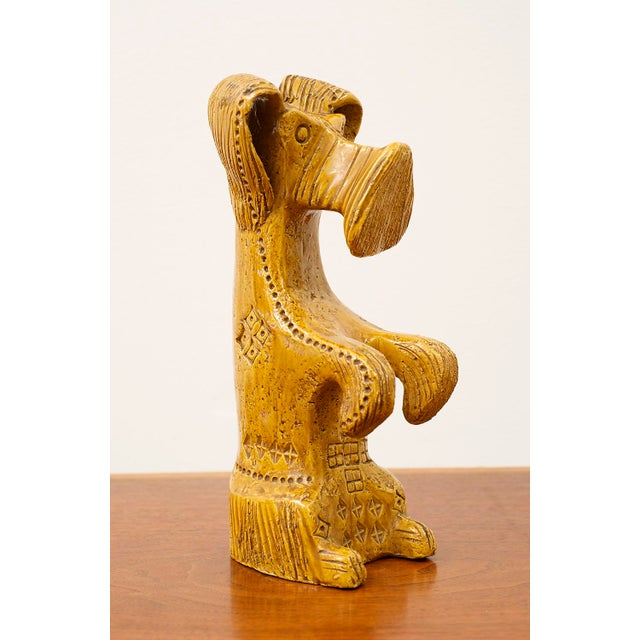 Yellow Ceramic Dog and Horse by Aldo Londi in Rare Mustard Glaze for Bitossi, Italy, 1960s For Sale - Image 8 of 13