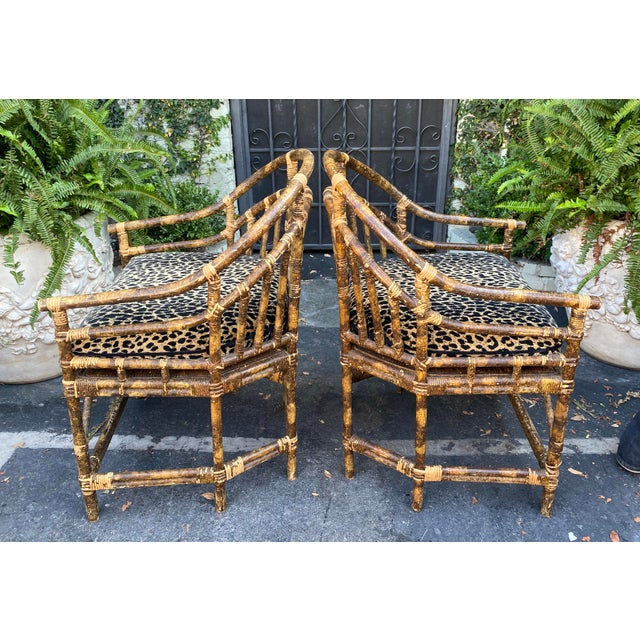 Traditional Regency Style Bamboo Barrel Chairs W Cheetah Cushions - a Pair For Sale - Image 3 of 5