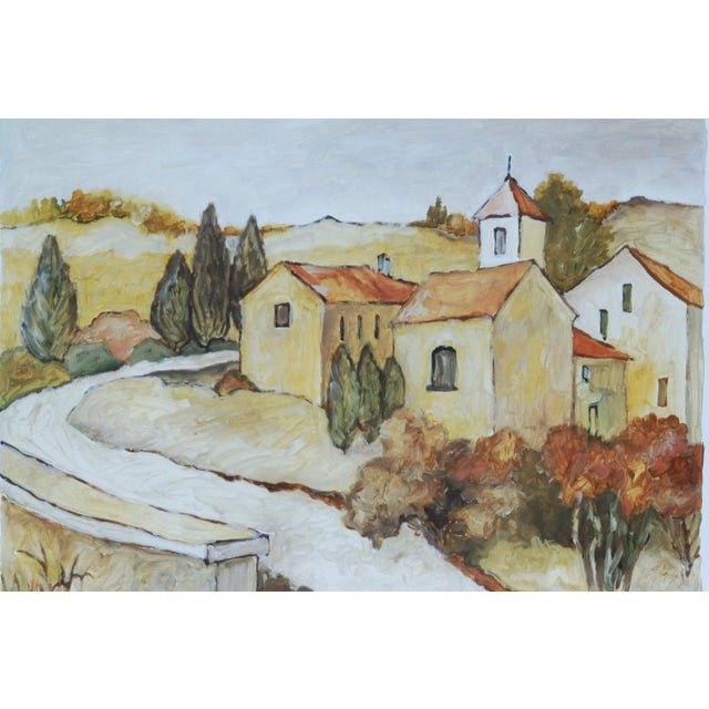 """A traditional framed Tuscan landscape print titled """"Via Orvieto"""" meaning Orvieto Street, by American artist C. Winterle..."""