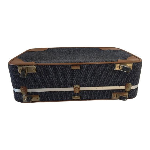 Vintage Luggage Blue Tweed Med Suitcase 25 X18 X 7.5 For Sale