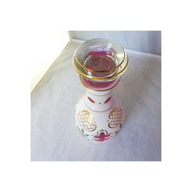 Vintage Hand Painted Floral Pink Decanter For Sale - Image 4 of 6