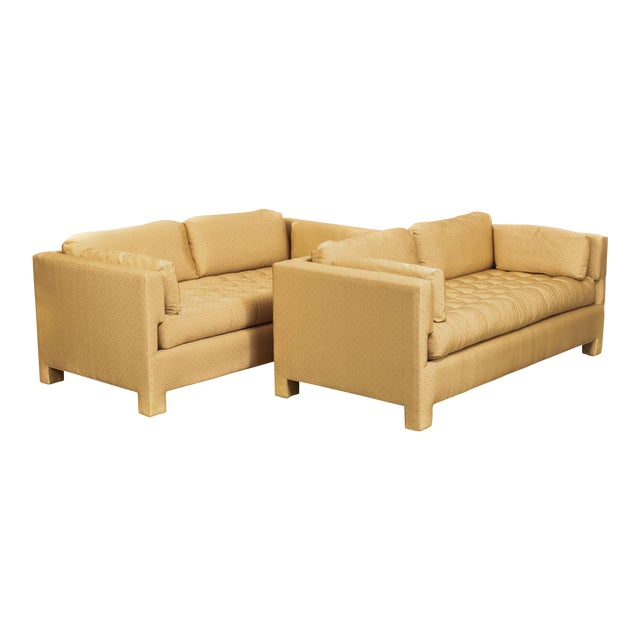 Mid Century Probber or Wormley Style Tan Upholstered Sofa Couches - a Pair For Sale