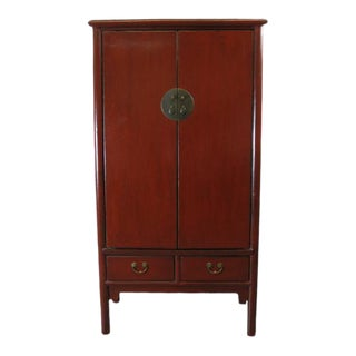 1900s Chinese Red Lacquer Noodle Cabinet For Sale