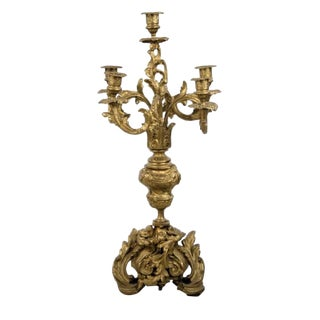 Antique French Bronze Ormolu 5-Light Candelabra For Sale