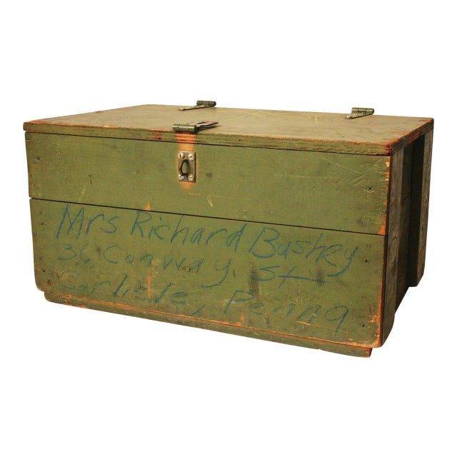 Vintage Distressed Green Military Trunk - Image 1 of 11
