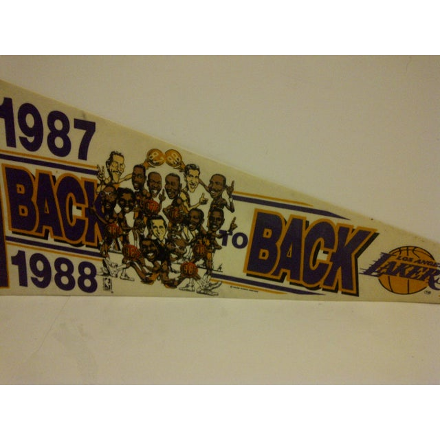 Vintage Nba Basketball Team Pennant - Los Angeles Lakers - Back to Back World Champions 1987-1988 For Sale - Image 4 of 6