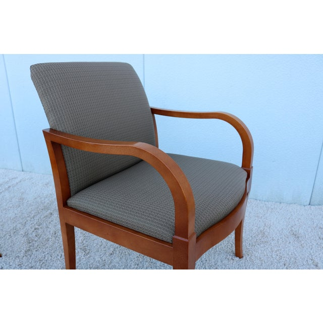 19th Century Scandinavian Modern Gunlocke Guest Dining Arm Chairs - Set of 4 For Sale - Image 9 of 13