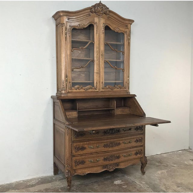 Antique Country French Secretary ~ Bookcase is the perfect all-in-one solution! Hand-crafted from solid oak to last for...