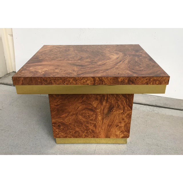 Mid-Century Modern Faux Burl and Brass Accent Table For Sale - Image 3 of 10