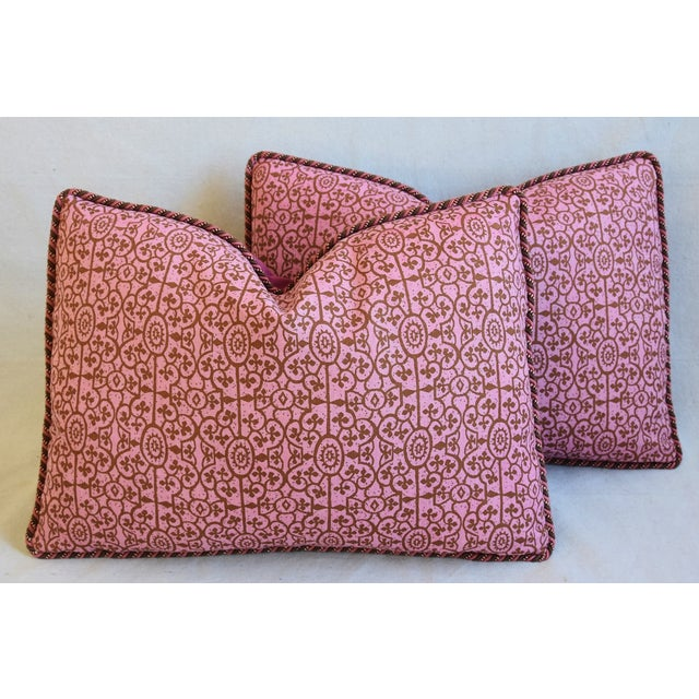"""Fabric Designer Raoul Hand-Printed Linen & Velvet Feather/Down Pillows 23"""" X 17"""" - Pair For Sale - Image 7 of 13"""