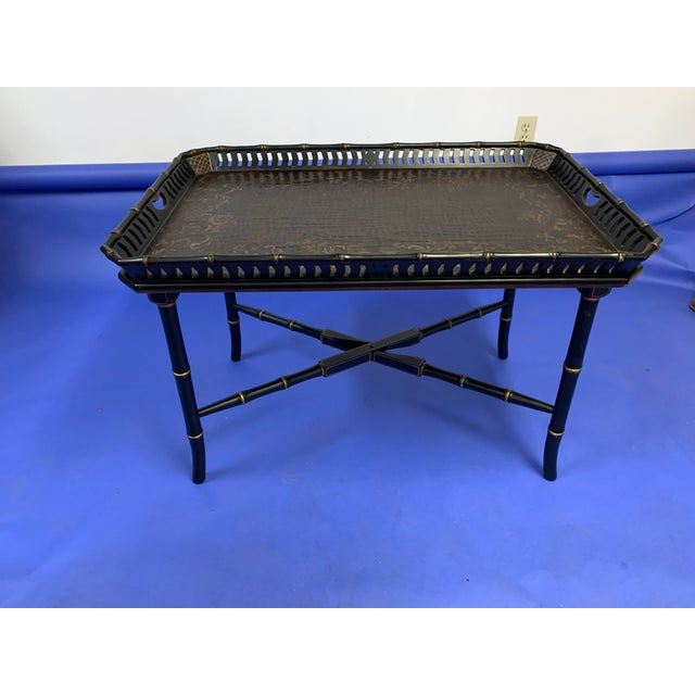 Metal Chinoiserie Folding / Coffee Tray Table For Sale - Image 7 of 7