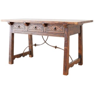 19th Century Spanish Baroque Walnut Trestle Library Table For Sale