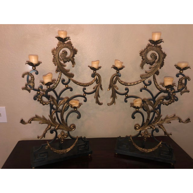 18th Century Rococo Style Iron and Brass Candle Holders by Theodore Alexander - a Pair For Sale - Image 9 of 13