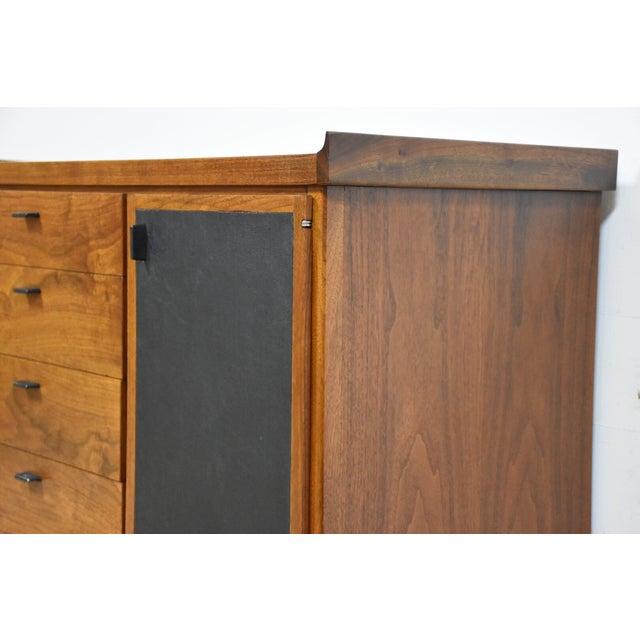 Walnut and Black Vinyl Armoire Dresser - Image 8 of 11