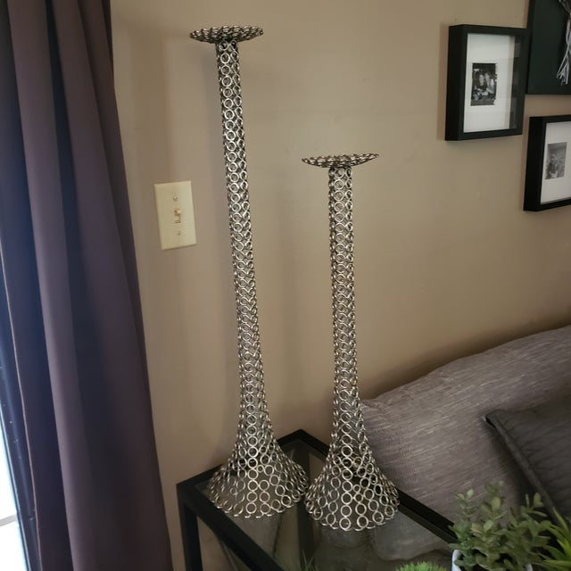 1970s Vintage Mid Century Modern Contemporary Floor Candles - a Pair For Sale - Image 5 of 12