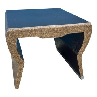 Mid-Century Modern Woven Fiber Covered Accent Table