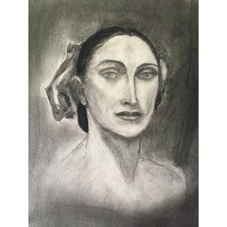 Vintage Charcoal Portrait For Sale