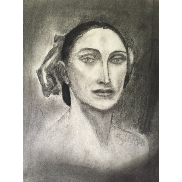 Vintage Charcoal Portrait For Sale